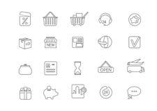 Einfache Ikone stellte für alle Art Internet-Einkaufen ein und online zahlte Lizenzfreie Stockbilder