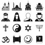 Einfache Ikonen der Religion eingestellt Stockfotografie