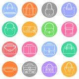 Einfache Ikonen der Tasche, des Geldbeutels, der Handtasche und des Koffers eingestellt Stockfoto