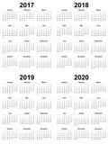 Einfache Kalender-Schablone 2017 2018 2019 2020 lizenzfreie abbildung