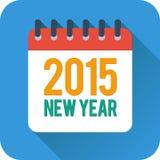 Einfache Kalenderikone des neuen Jahres in der flachen Art Stockbilder