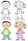 Einfache lächelnde Kinder stock abbildung