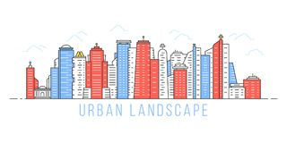 Einfache lineare Stadtlandschaft lizenzfreie abbildung