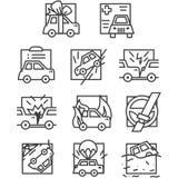 Einfache Linie Ikonen für Autoversicherung Lizenzfreie Stockfotografie