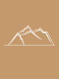 Einfache Linien Braunweiß der Gebirgshügel Lizenzfreies Stockfoto