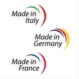Einfache Logos hergestellt in Italien, gemacht in Deutschland und in Made in Frankreich Stockbilder