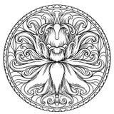 Einfache Mandala Shape für die Färbung Vektormandala floral lizenzfreie abbildung