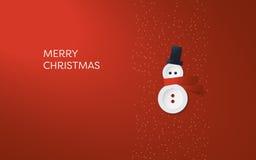 Einfache, minimalistic Weihnachtskarten-Vektorschablone Netter entzückender Schneemann gemacht von den Knöpfen auf rotem Hintergr Stockfoto