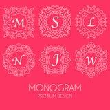 Einfache Monogrammdesignschablone, elegante Linie Kunstlogodesign Lizenzfreie Stockfotos