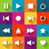 Einfache Multimedia-Spieler-Ikonen auf den farbigen Fliesen Lizenzfreie Stockfotos