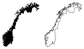 Einfache nur scharfe Eckenkarte der Norwegen-Vektorzeichnung Mercat vektor abbildung