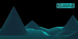 Einfache polygonale Neonberge, die Druck zeichnen lizenzfreies stockbild