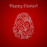 Einfache rote Grußkarte glücklichen Ostern-Gekritzels Lizenzfreies Stockbild