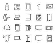 Einfache Sammlung der in Verbindung stehenden Linie Ikonen der Geräte vektor abbildung