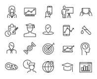 Einfache Sammlung on-line-Bildung bezog sich Linie Ikonen stock abbildung