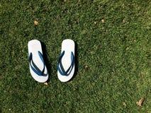 Einfache Sandale auf Gras Lizenzfreie Stockbilder