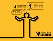 Einfache Schablone Infographic mit Schritten zerteilt Wahlelement-Ikonenmann Lizenzfreie Stockfotografie