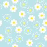 Einfache schematische weiße Blumen auf einem blauen Hintergrund Blumennaht Lizenzfreie Stockfotografie