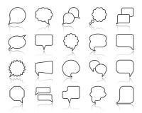 Einfache schwarze Linie Ikonenvektorsatz der Sprache-Blase stock abbildung