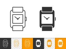 Einfache schwarze Linie Vektorikone der Armbanduhr stock abbildung