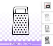 Einfache schwarze Linie Vektorikone der Küchen-Reibe lizenzfreie abbildung