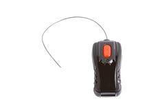 Einfache schwarze Spielzeug-Fernbedienung mit einem roten Knopf Stockfotos