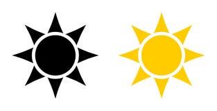 Einfache schwarze und gelbe Sonnenikone Kreis mit sechs Dreiecken in p lizenzfreie stockfotos