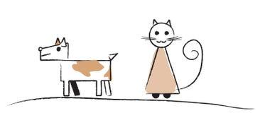 Einfache Skizze des Hundes und der Katze Lizenzfreie Stockfotos