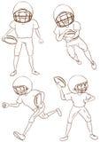 Einfache Skizzen der Spieler des amerikanischen Fußballs Stockfotografie