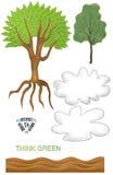 Einfache Tag der Erde-Baum-Wolke bereiten strukturierten Sprengring Art Elements auf Stockfotos