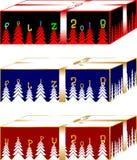 Einfache und elegante goldene Weihnachtsgeschenkkästen Purpur und Meergrün Stockbild