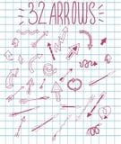 Einfache und stilvolle gezeichnete rosa Pfeile des Vektors Hand Lizenzfreies Stockfoto