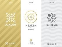 Einfache und würdevolle Blumenmonogrammdesignschablone, elegante lineart Logo-Designschablone, Vektorikonenillustration Stockfoto