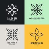 Einfache und würdevolle Blumenmonogrammdesignschablone, elegante lineart Logo-Designschablone, Vektorikonenillustration Lizenzfreie Stockfotografie