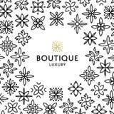 Einfache und würdevolle Blumenmonogrammdesignschablone, elegante lineart Logo-Designschablone, Vektorikonenillustration Lizenzfreies Stockbild