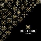 Einfache und würdevolle Blumenmonogrammdesignschablone, elegante lineart Logo-Designschablone, Vektorikonenillustration Stockbilder