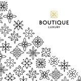 Einfache und würdevolle Blumenmonogrammdesignschablone, elegante lineart Logo-Designschablone, Vektorikonenillustration Stockfotografie