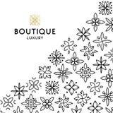 Einfache und würdevolle Blumenmonogrammdesignschablone, elegante lineart Logo-Designschablone, Vektorikonenillustration Lizenzfreie Stockfotos