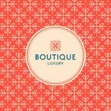 Einfache und würdevolle Blumenmusterdesignschablone, elegantes lineart Logodesign, Vektorikonenillustration Moderne Art Stockfotos