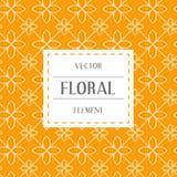 Einfache und würdevolle Blumenmusterdesignschablone, elegantes lineart Logodesign, Vektorikonenillustration Moderne Art Lizenzfreies Stockbild