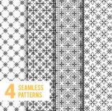 Einfache und würdevolle Blumenmusterdesignschablone, elegantes lineart Schwarzweiss-Design, Vektorikonenillustration Stockbild