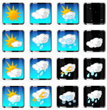 Einfache Vektorikonen des Wetters Lizenzfreies Stockfoto