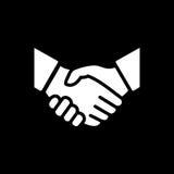 Einfache Vektorillustration der Händedruckikone Abkommen oder Partner stimmen zu stock abbildung