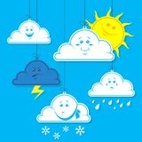 Einfache Vektorillustration einer flachen Kunst der Karikatur bewölkt sich mit einer anderen Stimmung und dem Wetter auf einem bl lizenzfreie abbildung