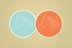 Einfache Vektorpferdeikonen. Männlich-weiblicher Avatara Stockfotos