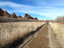 Einfache wandernde Spur Kolorados in den felsigen Bergen Stockfotos
