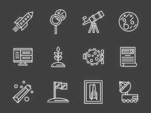 Einfache weiße Linie Ikonen der Raumbesiedlung Lizenzfreies Stockfoto