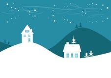 Einfache Winter-/Weihnachtslandschaft Stockbild