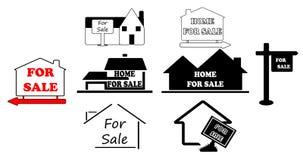 Einfache Zeichen für den Verkauf des Hauses Stockfotos