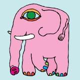 Einfache Zeichnung des rosafarbenen Elefanten Hand Stockbilder